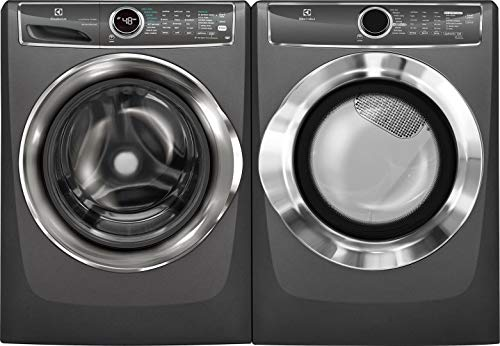 Electrolux Titanium Front Load Laundry Pair with EFLS627UTT 27″ Washer and EFMG617STT 27″ Gas Dryer