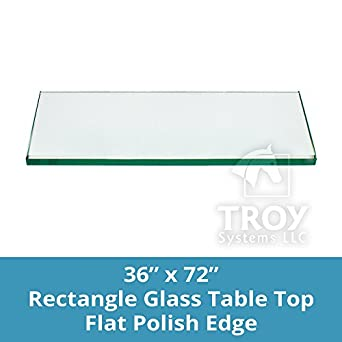 36x72 Inch Rectangle Glass Table Top 1/4 Inch Thick Flat Polished Edge  Eased .