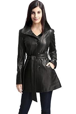 "BGSD Women's ""Madison"" Missy & Plus Size New Zealand Lambskin Leather Walking Coat"