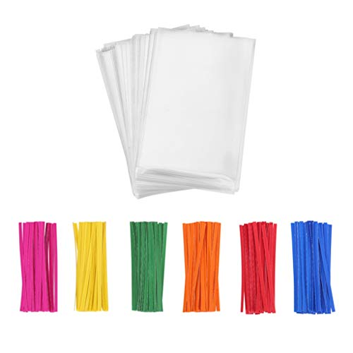 Compostable Clear Treat Bags 4x6 with Paper Twist Ties for Cake Pop Cookies Candies Dessert Chocolate Party Favor, Pack of 100 by Quotidian -