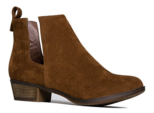 Faux Suede Almond Toe-Side Cut Out Stitch Accents-Western Low Chunky Heel Bootie 7.5