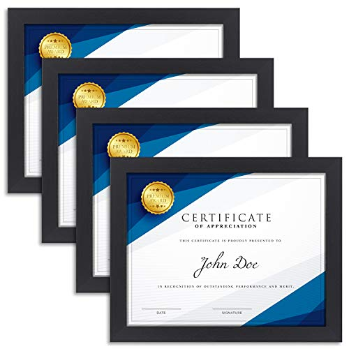 Langdons 8.5x11 Certificate Frame (4 Pack, Black), Diploma Frame, Sturdy Wood Composite, Wall Mount Hooks Included with Black Picture Frames for Documents, Prima Collection   ()