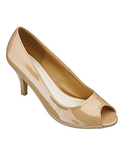 Simply Be Womens Heavenly Soles Peep Toe Shoes Beige