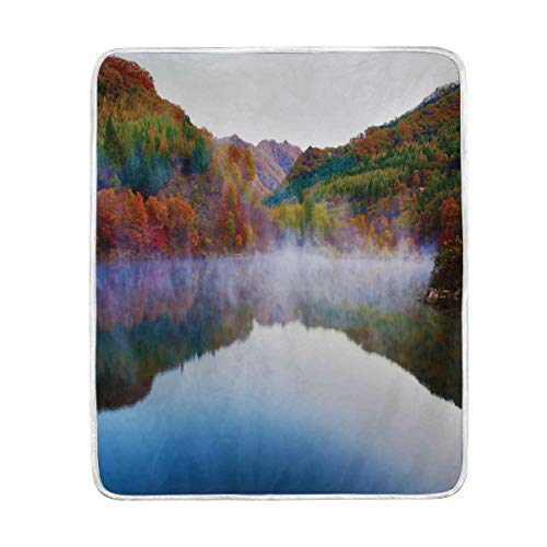 Camp Twin Lakes Halloween (CHASOEA Throw Blanket,Colorful Lake Mountain Scenery Print,Microfiber All Season Bed Couch,60