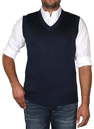 (True Rock Men's Argyle V-Neck Sweater Vest-Navy-Large)