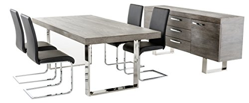 rlee Collection Modern Veneer Top Kitchen Dining Table with Stainless Steel Legs, Grey ()