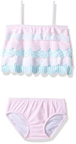 Kate Mack Girls' Petal Parfait Tankini Swimsuit, Multi, 12M - Tankini Kate Mack Nylon
