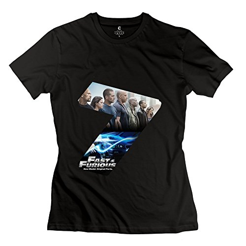 PTCY Women's Make Your Own T Shirts Geek Fast Furious 7 S Black