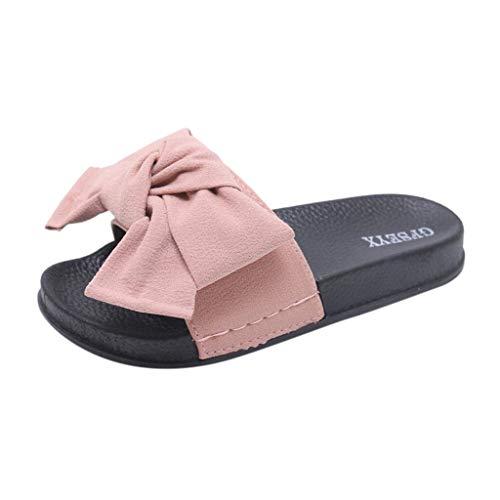 MILIMIEYIK Beach Sandals for Women, Slide Sandals for Women/Cork Sole/Canvas Knot Bow/Womens Slides/Sandals for Women 9 Pink ()