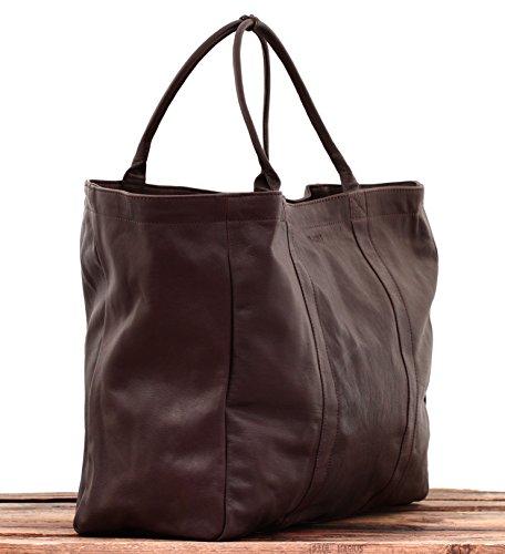 MON PARTENAIRE L Tiefdunkelbraun PAUL MARIUS Leder-Einkaufstasche-Handtaschenfrauen gröBe L 74BXwi0DkG