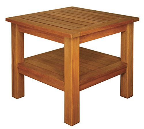 Blue Star Group Terrace Mates 2 Shelf High Square End Table, Natural Wood Stain