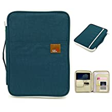 BTSKY Multi-functional A4 Document Bags Portfolio Organizer--Waterproof Travel Pouch Zippered Case for Ipads, Notebooks, Pens, Documents (Dark Blue)