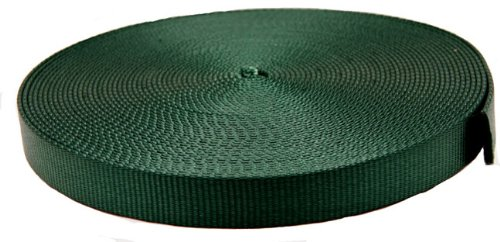 3/4 Inch Forest Green Super Heavy Nylon Webbing Closeout, 10 Yards (Leash Plain 8)