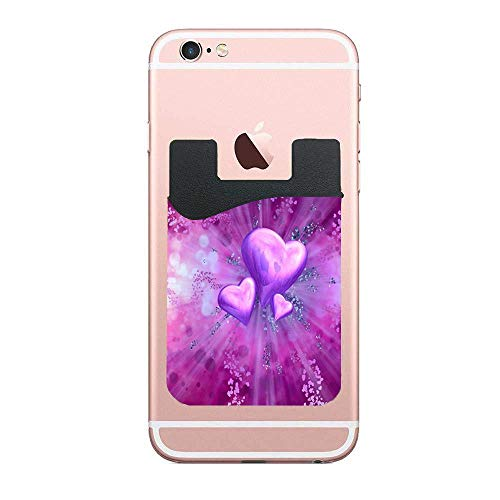 Heart Funny Cell Phone Wallet (for Credit Card & Id) | Works with Almost Every Phone | iPhone, Android & Most Smartphones 2 PCS ()