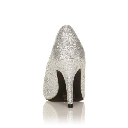 ... Pearl - High Heels Stöckelschuhe silber Glitter Glitzer Stilettos  klassische Pumps Silber Glitzer ... b0cd5d7006