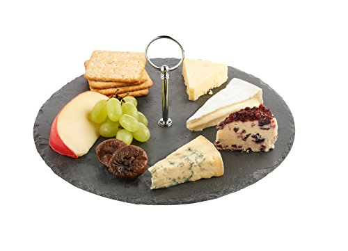 Cheese Board Lazy Susan Serving Board Tray Set with Silver Carrying Handle - Diameter 12 Inches (7 Piece Lazy Susan)