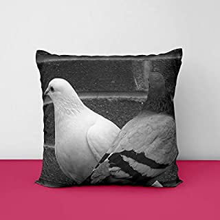41qrPVgzYUL. SS320 Couple Pigeon Square Design Printed Cushion Cover
