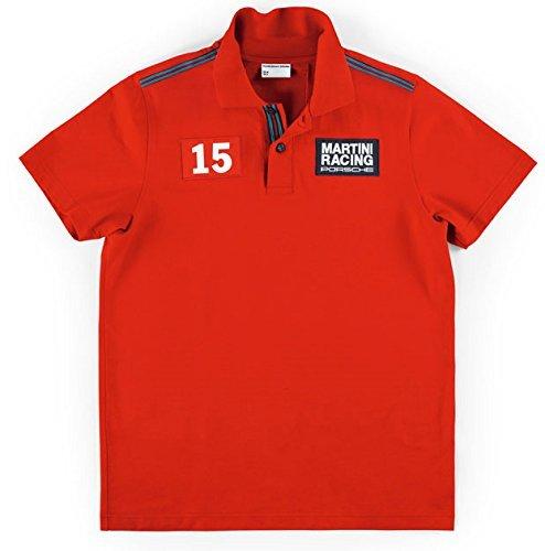 【 PORSCHE 】 ポルシェ Herren レーシングコレクション マルティニ ポロシャツ レッド B01LZHHDOG   S身幅48cm着丈66cm
