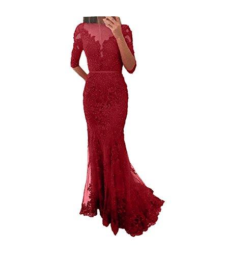 Dunkel Spitze Abendkleider Festlichkleider mit Damen Rot Abschlussballkleider Ballkleider Langarm Partykleider Charmant Meerjungfrau qF7Ea