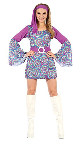 Bristol Novelty AC729 Groovy Psychedelic Hippy Lady Dress, Multi-Colour, Size 10-14 ()