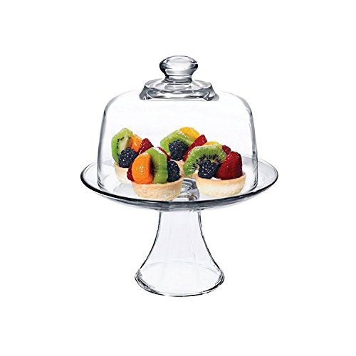 Anchor Hocking Presence Glass Single Tiered Round Platter with Dome (Tiered Single)
