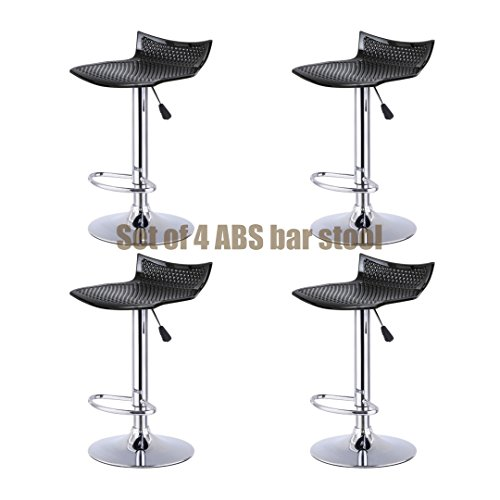 Contemporary High-Gloss ABS Seat Bar stool Adjustable Height 360 Degree Swivel Solid Polished Wood Seat Stable Footrest Chrome Steel Frame Office Pub Chair New Black - Set of 4 - Near Ma Boston Outlets