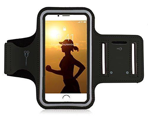MyGadget mobiele telefoon sportarmband – mobiele telefoonhoes joggen voor 6.1″ display – fitness jogging sporthoes voor Apple iPhone 12 Pro, 11 XR, XS X, Galaxy S10 S9 – zwart