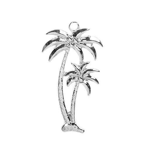(10 Count Silver Tone Palm Tree Charm 35 x 19mm Beach Charm)