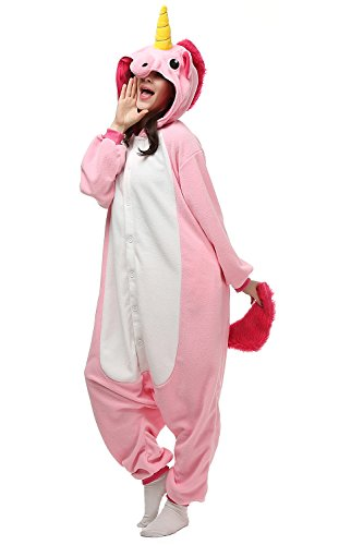 Adults Kigurumi Pink Unicorn Onesie Pajama Cute Animal Costume Cospaly Partywear Outfit Homewear M (Cute Costumes For Men)