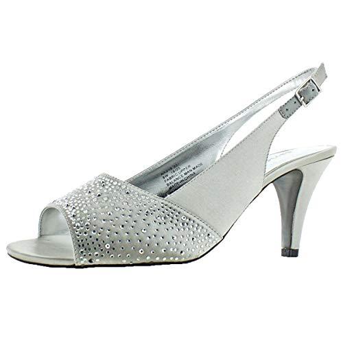 David Tate Women's Stunning Satin Embellished Slingback Pump Silver Size 9 -
