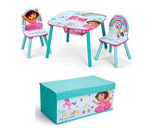 Dora The Explorer Playroom Set - 2-Piece| Nick Jr. |Set Includes Table and Chair Set with Storage and Fabric Toy Box | Delta Children
