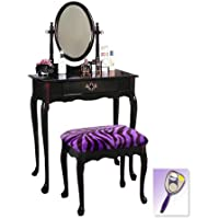 New Cherry Finish Queen Anne Make Up Vanity Table with Mirror & Purple Zebra Faux Fur Themed Bench