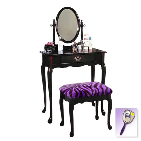 New Cherry Finish Queen Anne Make Up Vanity Table with Mirror & Purple Zebra Faux Fur Themed (Chest Of Drawers Queen Anne Style)