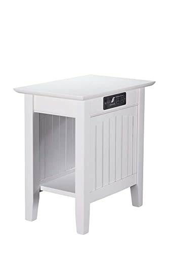 Atlantic Furniture 22 in. Nantucket End Table with Charger in White