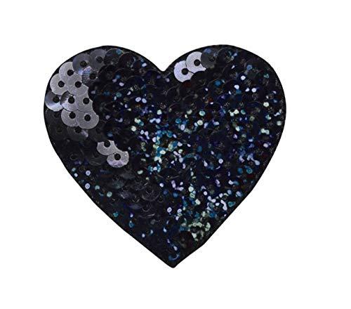 Sequin Heart - BLACK - Large 2