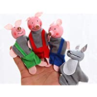 Kuhu Creations Supreme Three Little Pigs Story Wooden Finger Puppets (3 Pieces)