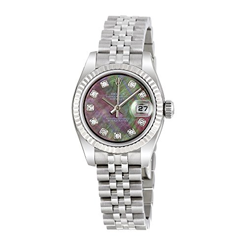 Rolex Lady Datejust 26 Black Mother of Pearl Dial Stainless Steel Rolex Jubilee Automatic Watch 179174BMDJ
