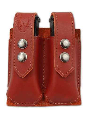 Barsony Burgundy Leather Double Magazine Pouch for Ruger SR9 SR40 (Ruger Sr40 Ammo)