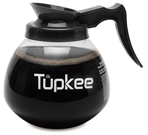 - Tupkee Commercial Coffee Pot Replacement - SHATTER-RESISTANT Restaurant Glass Decanter Carafe - 64 oz 12 Cup, Black Handle/Regular, Compatible with Wilbur Curtis, Bloomfield, Bunn Coffee Pot