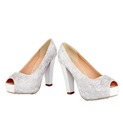 à à Femme Ouverture Blanc AalarDom Paillette Petite TSFLH007137 Tissu Sandales Haut Talon 7HwCa6q
