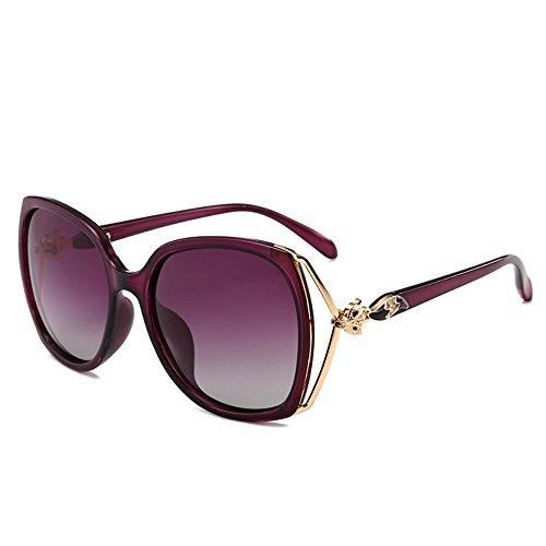 de Shop sol Gafas de conducción de señoras chica señoras la las redonda 6 de Caja elegantes de gafas sol sol las Gafas polarizador de de Púrpura cara trIPqIw
