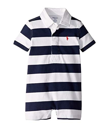 Ralph Lauren Baby Boys Shortalls Bodysuit Striped Smooth Cotton (9 Months, French Navy/White) (Ralph Lauren Baby Boy Bodysuit)