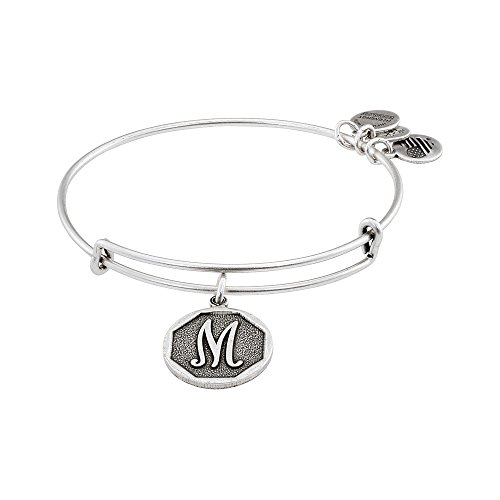 Alex and Ani Rafaelian Silver-Tone Initial M Expandable Wire Bangle Bracelet, 2.5