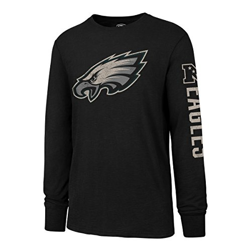 NFL Philadelphia Eagles Men's OTS Slub Long Sleeve Team Name Distressed Tee, Jet Black, Small