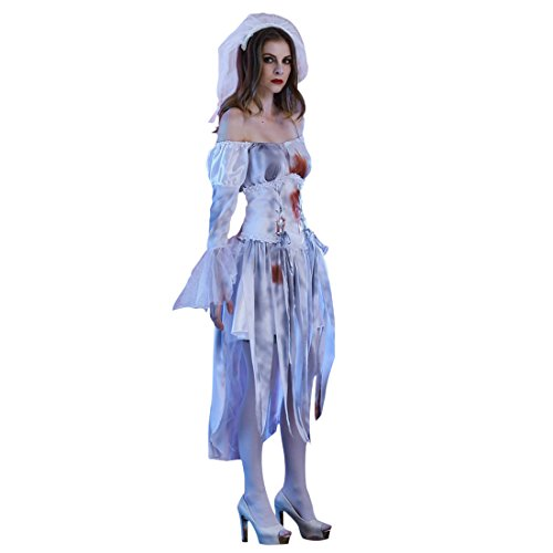 Slocyclub Women's Deluxe Cemetery Bride Costume Halloween Party Dress