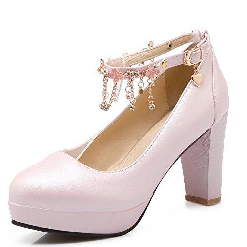 AllhqFashion Mujeres Tacón ancho Hebilla Puntera Redonda De salón con Diamante de Imitación Rosa