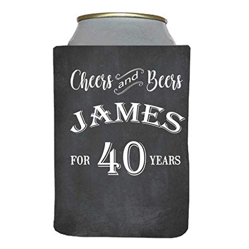 VictoryStore Can and Beverage Coolers: Custom 40th Birthday Can Coolers - Cheers and Beers for 40 Years (14) -