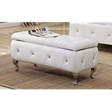 Kings Brand Furniture B5104-BE Tufted Design Upholstered Storage Bench Ottoman, White