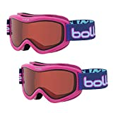 Bolle Volt Snow/Ski Goggles for Kids Ages 6+ | 2-Pack | Pink Confetti Frame/Vermillon Lens | Anti-Fog Double Lens | Flow-Tech Venting