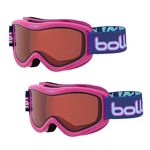 Bolle Volt Snow/Ski Goggles for Kids Ages 6+ | 2-Pack | Pink Confetti Frame/Vermillon Lens | Anti-Fog Double Lens | Flow-Tech -